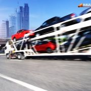 Trailer transports cars on highway