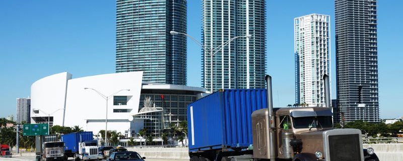 Trucks on the Bridge at Downtown Miami, Florida USA