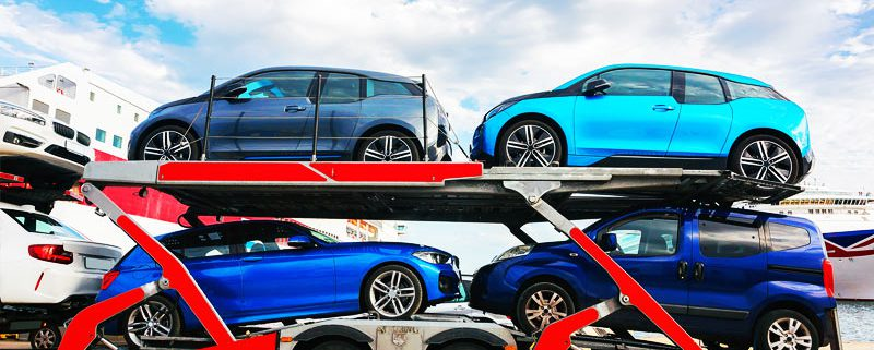 Car transporter in port of USA