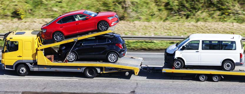 Car transporter on the highway