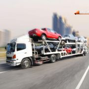 Truck run on road, transportation logistic