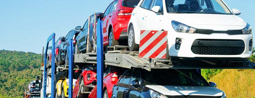 A car shipping truck transporting vehicles