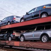 Transportation of cars on the railway platform